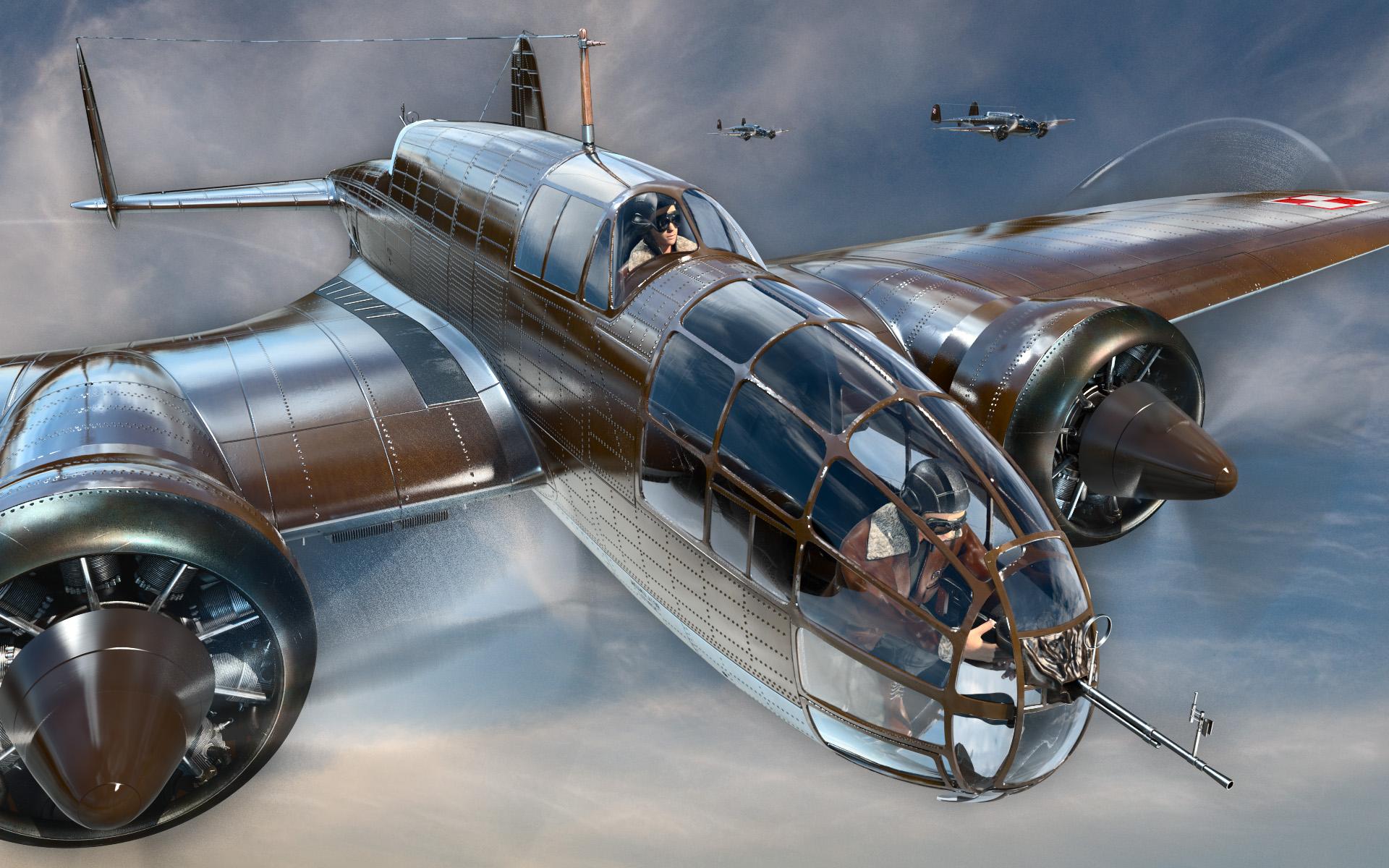 PZL 37 BII model 3D render eskadra