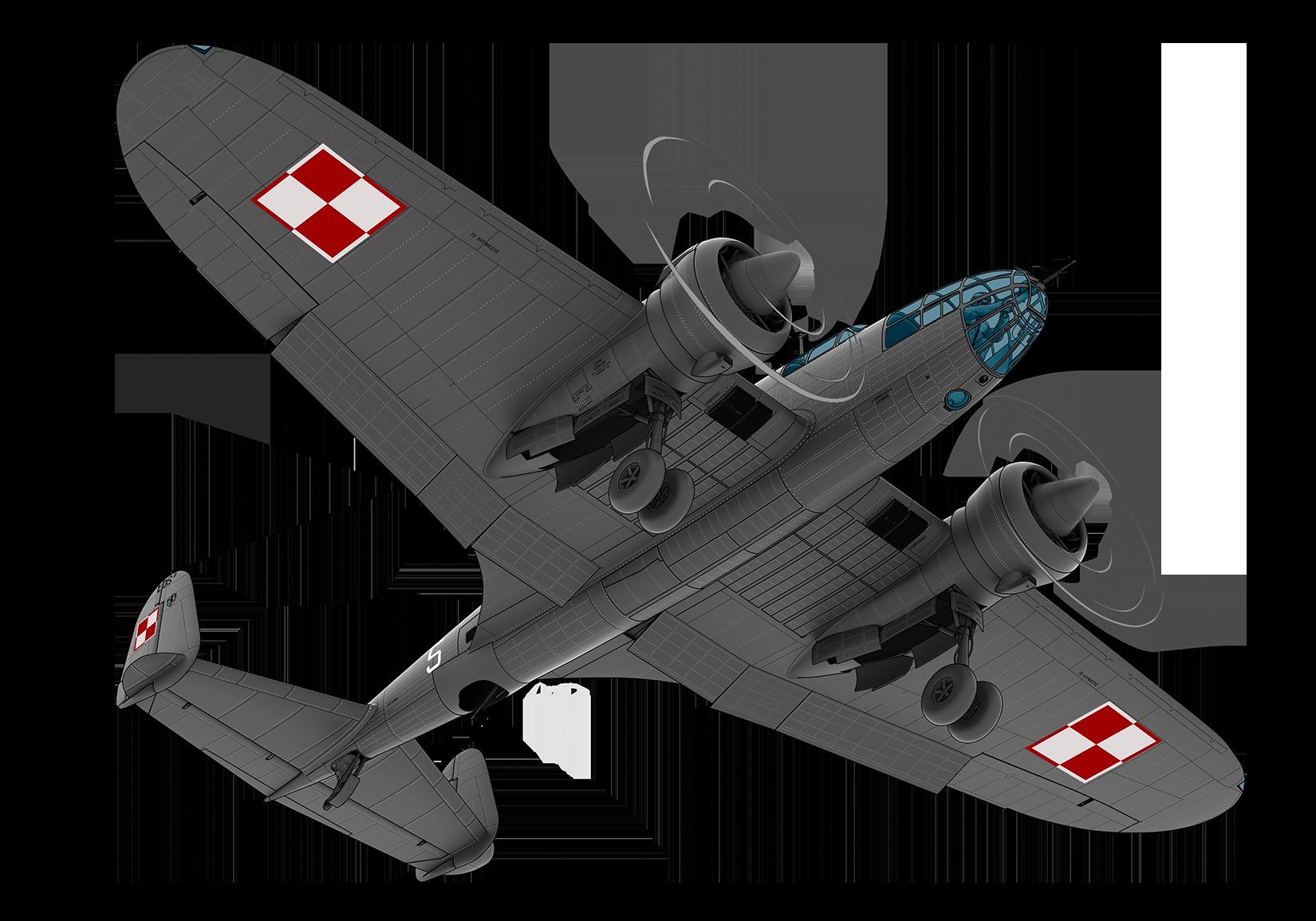 PZL 37 BII model 3D render