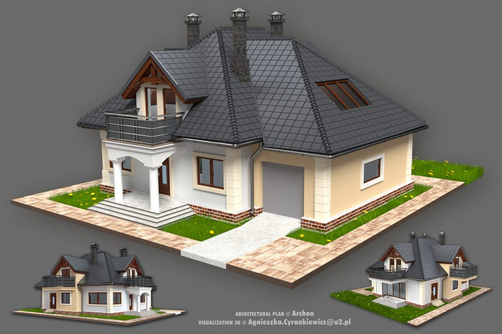architecture, 3D, model, render