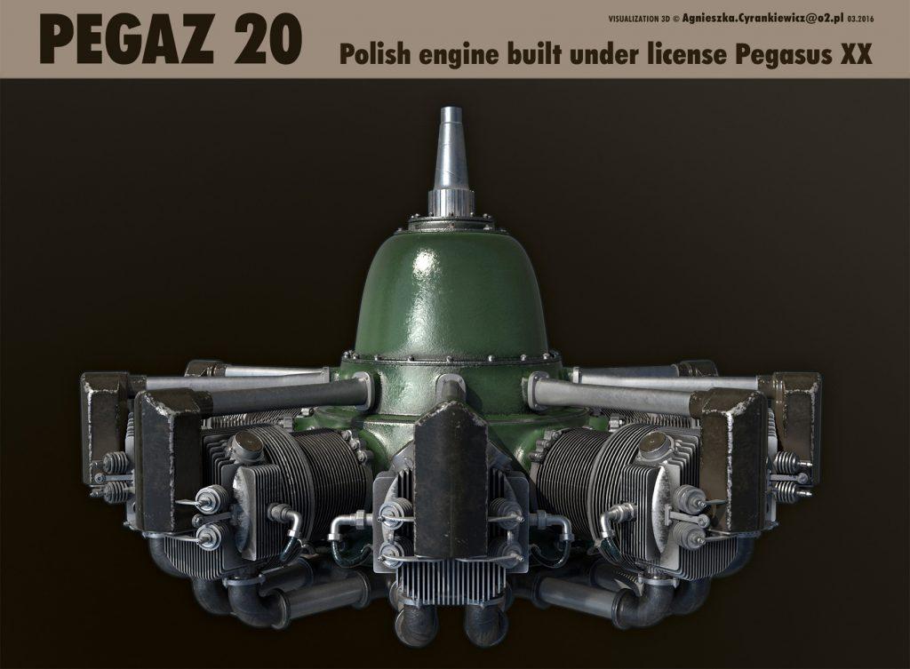 Pegaz 20, Pegasus XX, PZL 37B II, Łoś, WWII, war, 3D, model, render