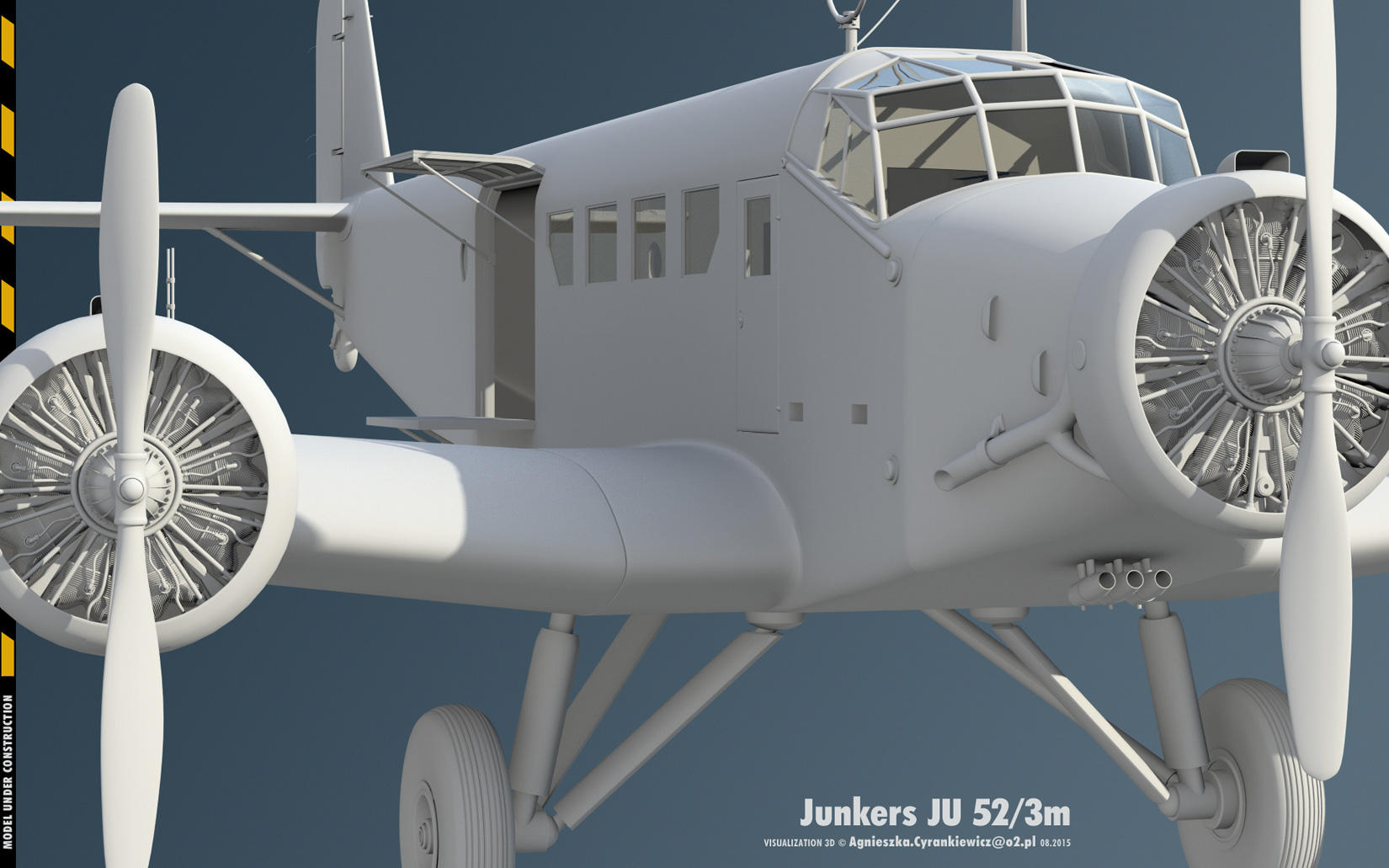 Junkers JU52/3m, Tante JU with BMW132, 3D model, render