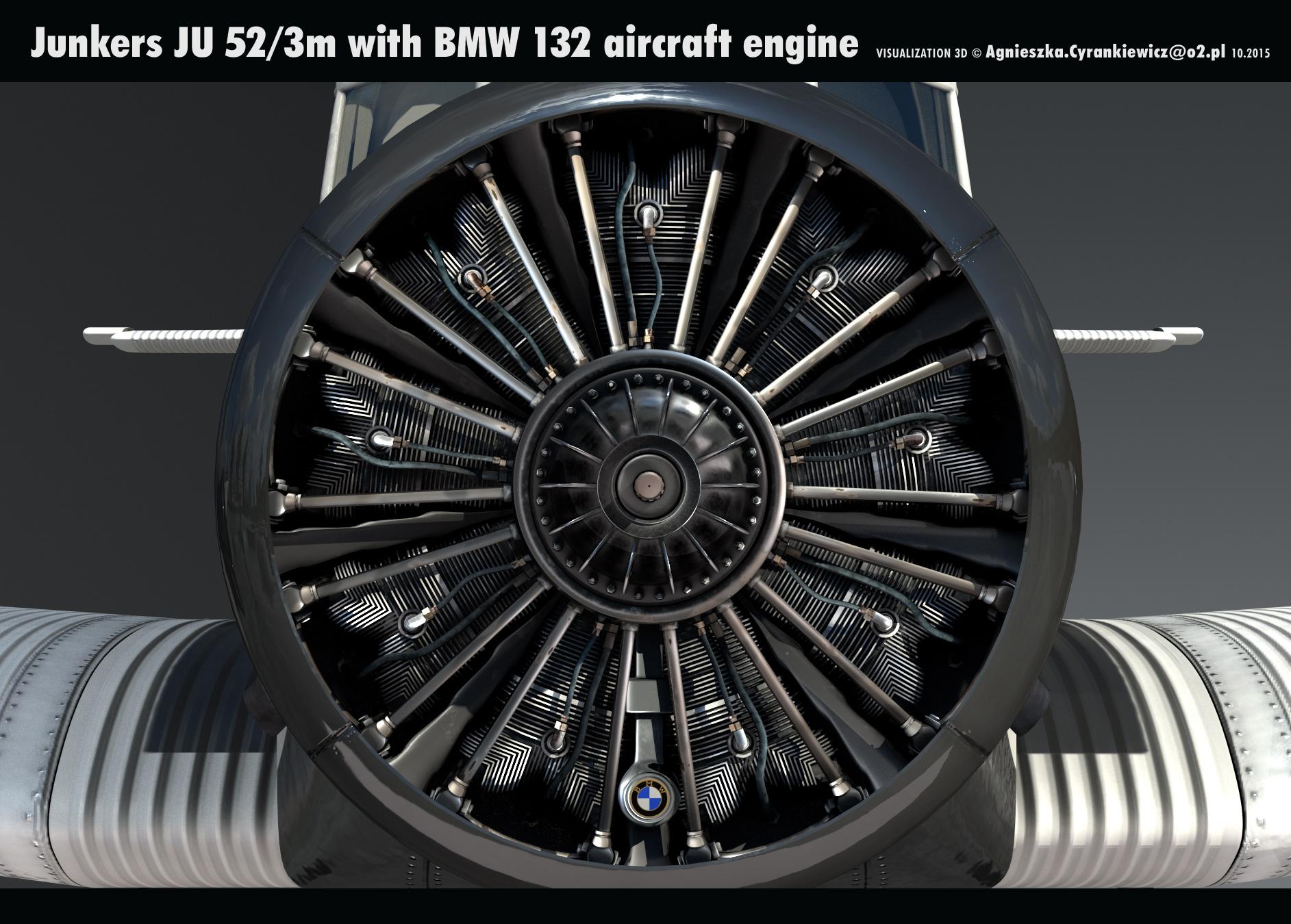 Junkers JU52/3m, Tante JU with BMW132, 3D model, render