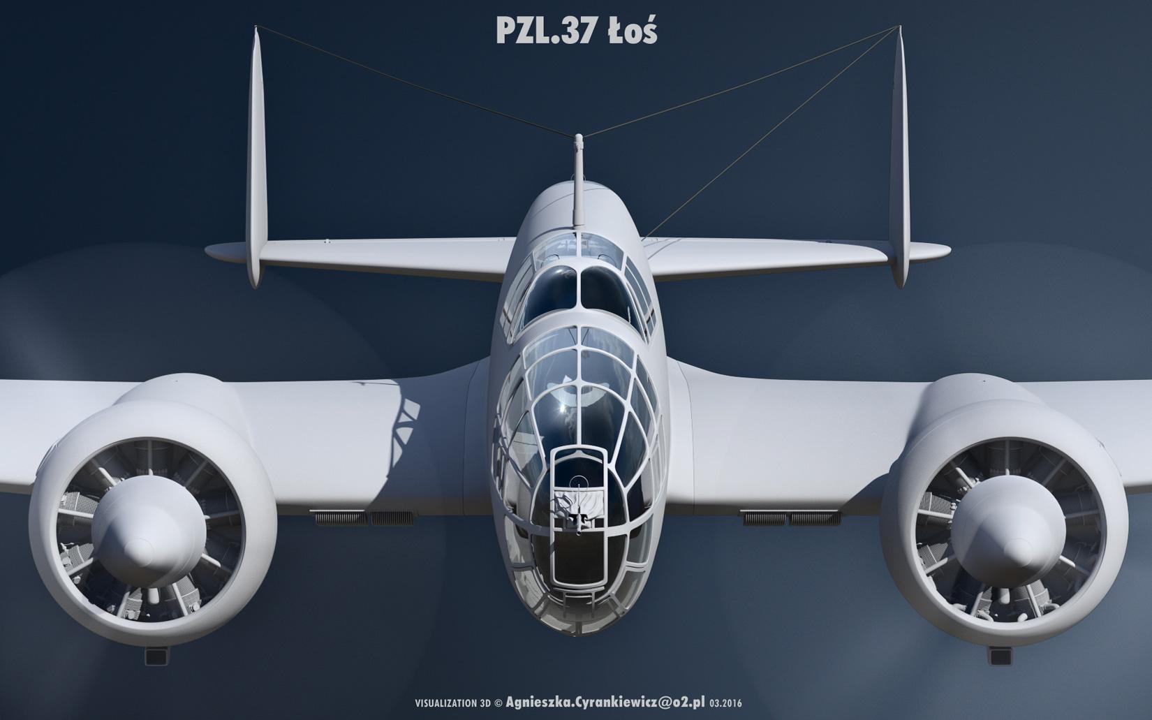 PZL 37B II, Łoś, Polskie Zakłady Lotnicze, PZL37BII, render, 3D, model