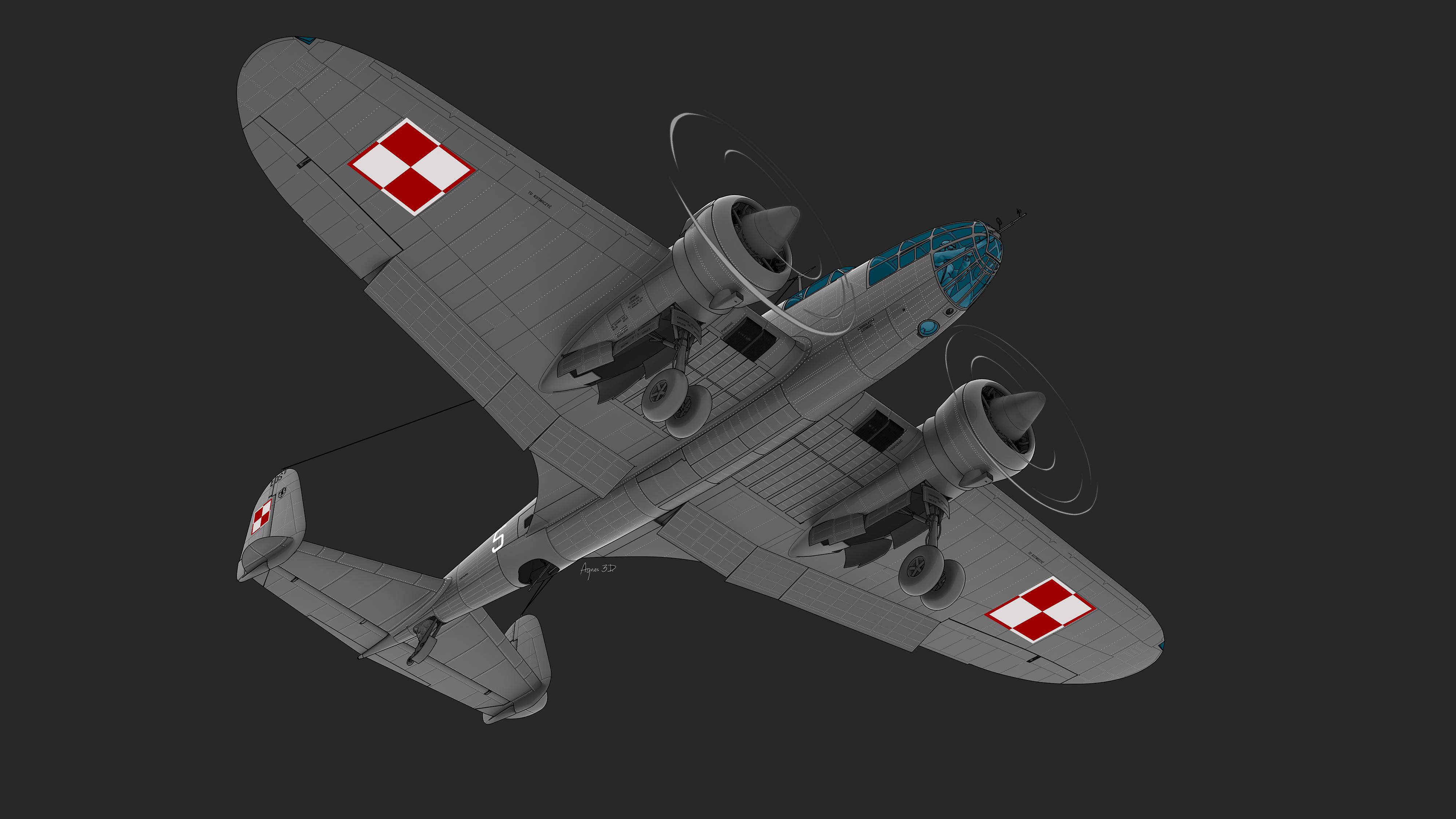 PZL 37 BII – Model 3D samolotu Polskich Zakładów Lotniczych. 3D airplane model reconstruction, visualisation, graphics.